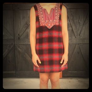 FREE PEOPLE Red Plaid Dress